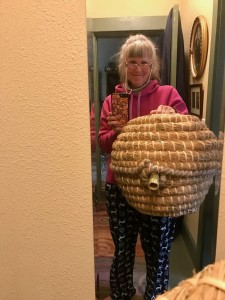 "Here is my new ""ball style"" skep, with the bamboo entrance."