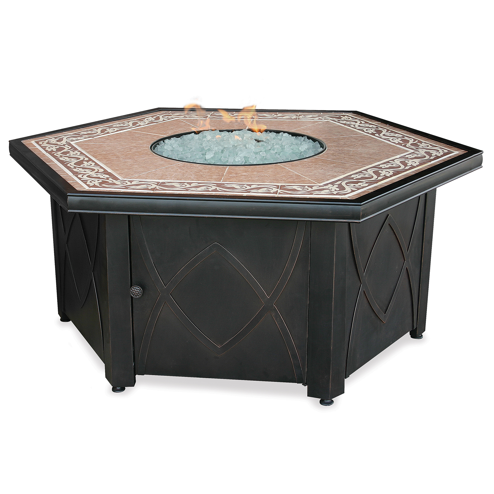 Fireplace Tables Outdoor Endless Summer Outdoor Fire Table Lp Gas With Decorative