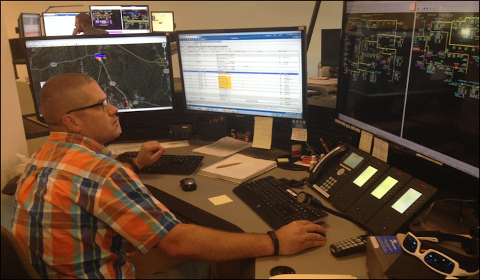 Distribution operator Stony Gillespie directs power flows on the central Virginia distribution grid.