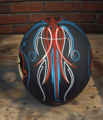 Flat Black Motorcycle Helmet With Pinstripes
