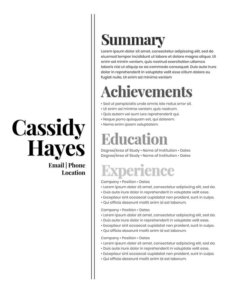 Free Resume Templates - Badass Resume Company