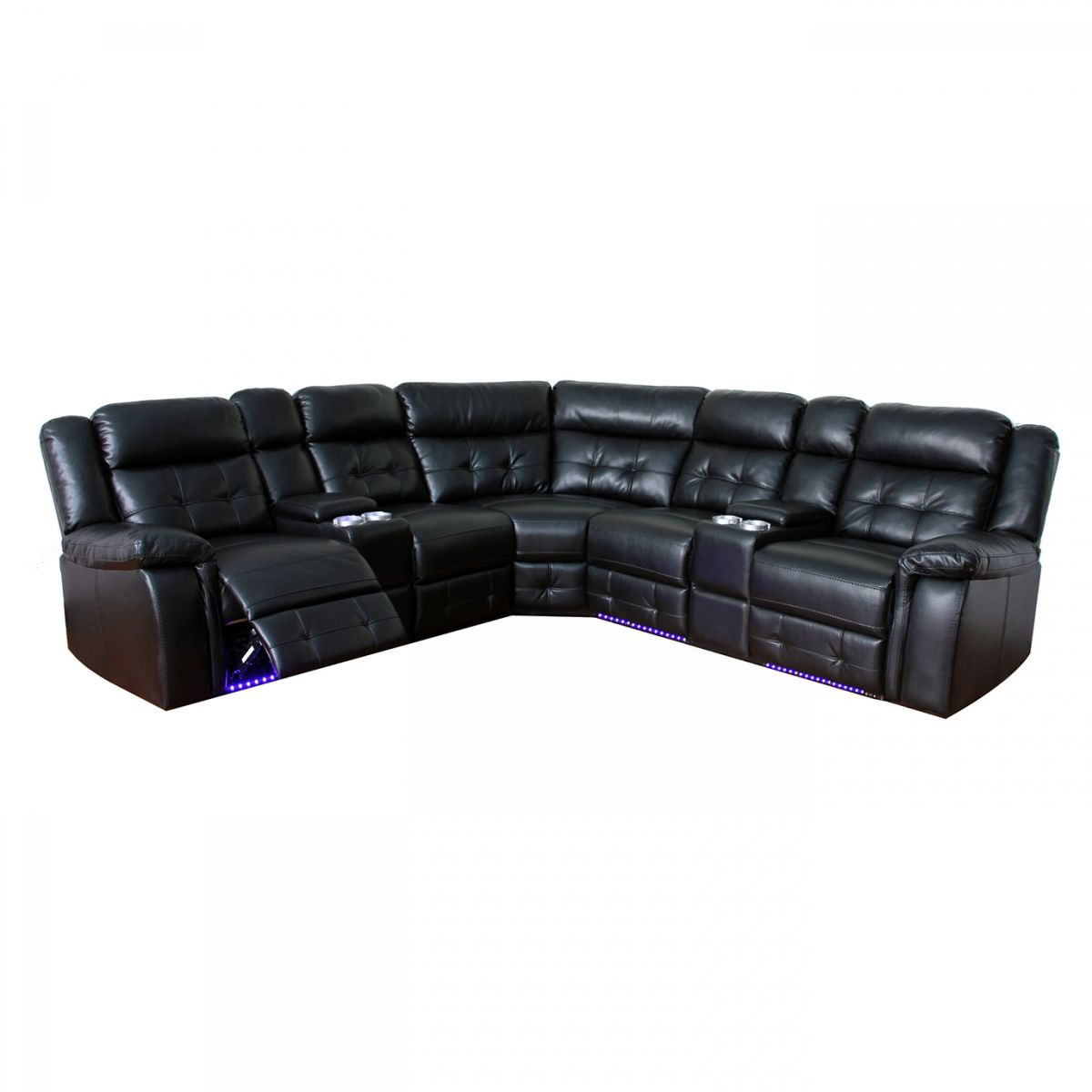 Sofa Led Cobalt Black Reclining Sectional With Led Lights