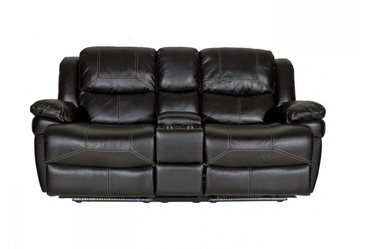 Flynn Black Console Loveseat With Led Lights Badcock More