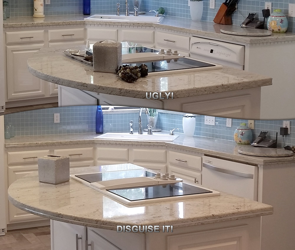 Ugly Granite Countertops Have Ugly Granite Edge Seams Disguise It With Stainless Steel
