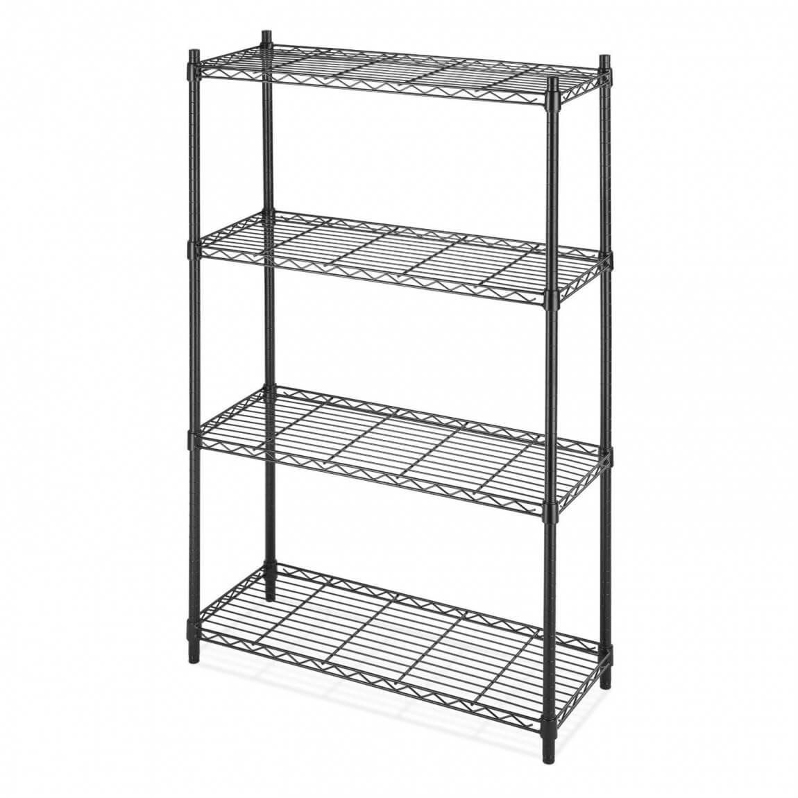Metal Shelving 4 Shelf Black Metal Wire Shelving Unit