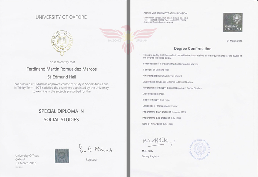 Bongbong Marcos\u0027 Special Diploma and UK System of Education As
