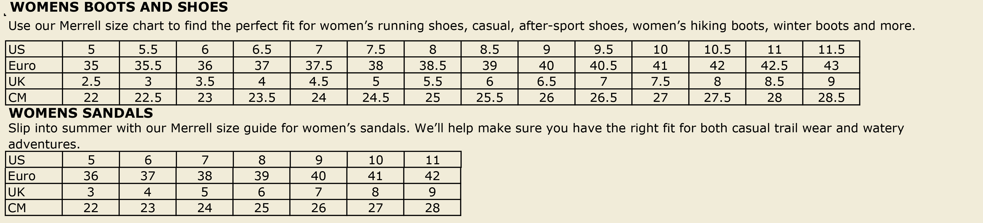 merrell canada size chart inc