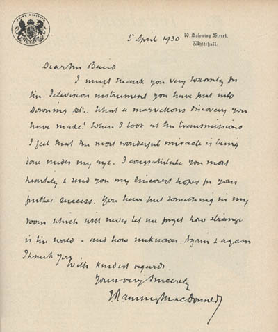 James Ramsay MacDonaldu0027s letter from 10 Downing St thanking John - aircraft painter sample resume
