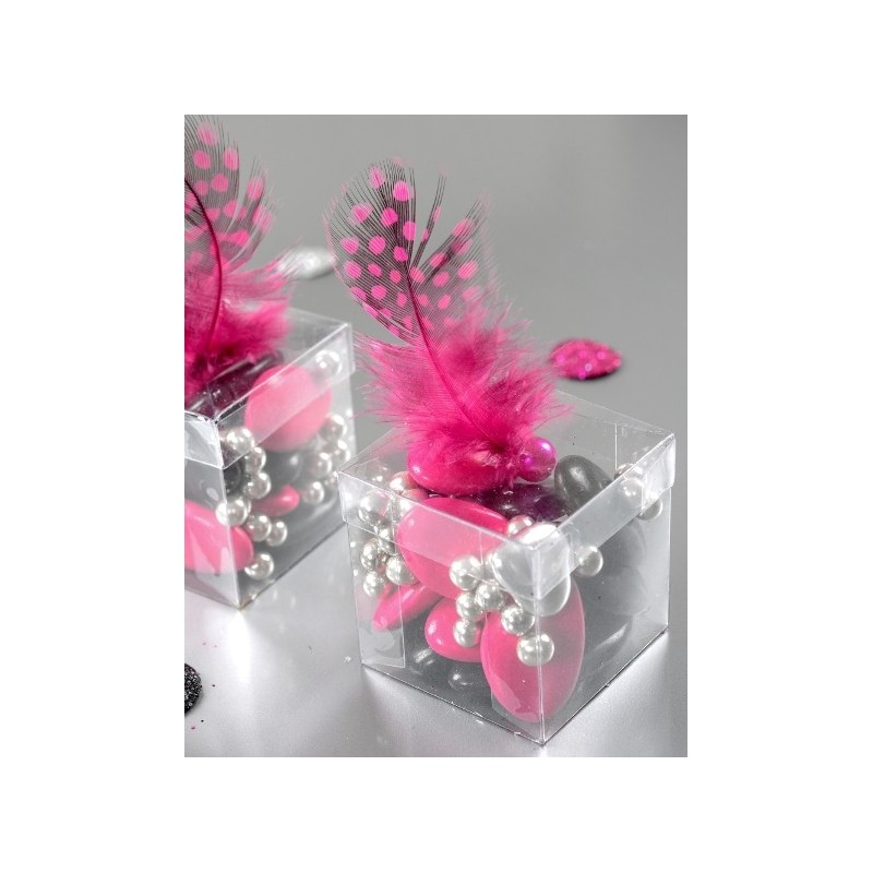 Decoration De Serviette De Table En Papier Boîte à Dragées Cube Transparent 4 Cm Les 6