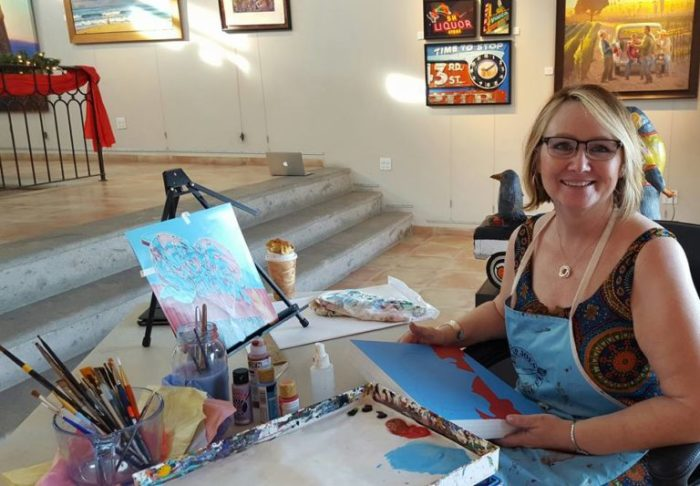 Misty Martin Painting at Ida Victoria Gallery Thursday nights for the Art Walk