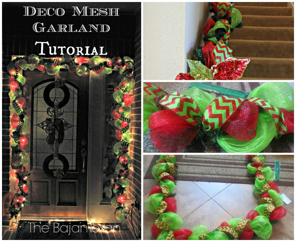 Diy deco mesh garland holiday decor series the bajan texan for Decor de noel exterieur