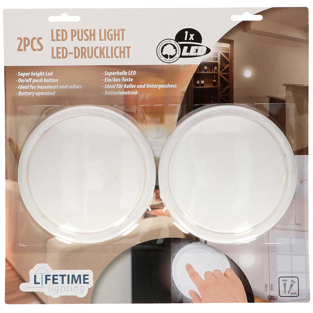 Luci Led Per Armadi Set 2 Luci Led A Pressione Push Light Senza Fili Interruttore Per Armadio Garage Illuminazione Da Interno Vendita Online Bakaji