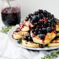 Lemon Ricotta Thyme Pancakes with Blueberry Sauce