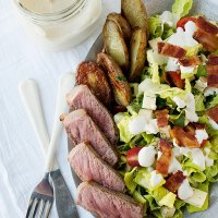 Steak and Roasted Potato Salad with Roasted Garlic Dressing
