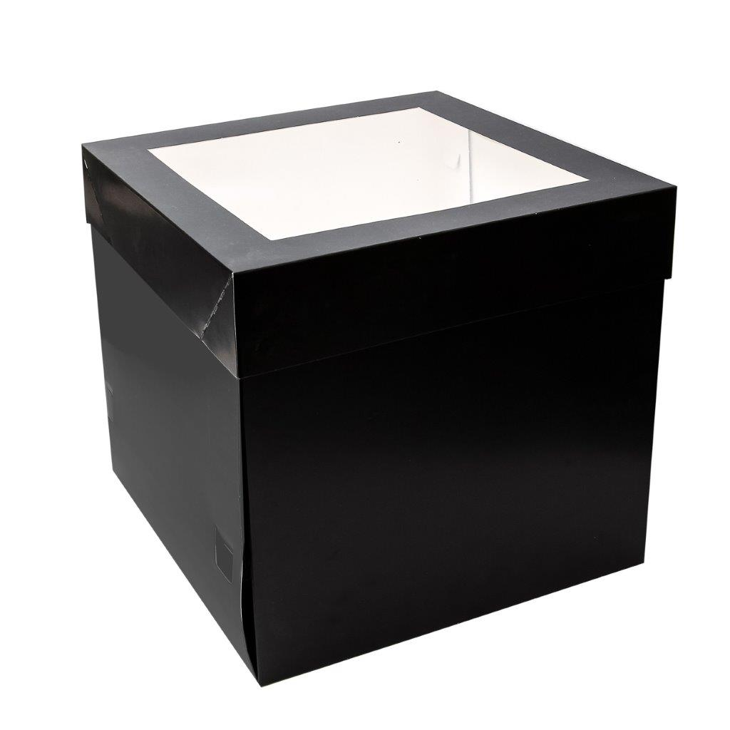30cm 30cm Tall Black Cake Box With Window 12 Inch Bake Group