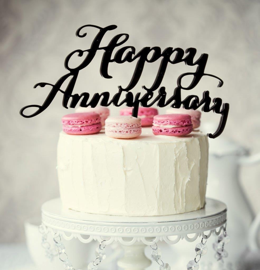 Round Mirror With Black Frame Happy Anniversary Cake Topper Black Bake Group