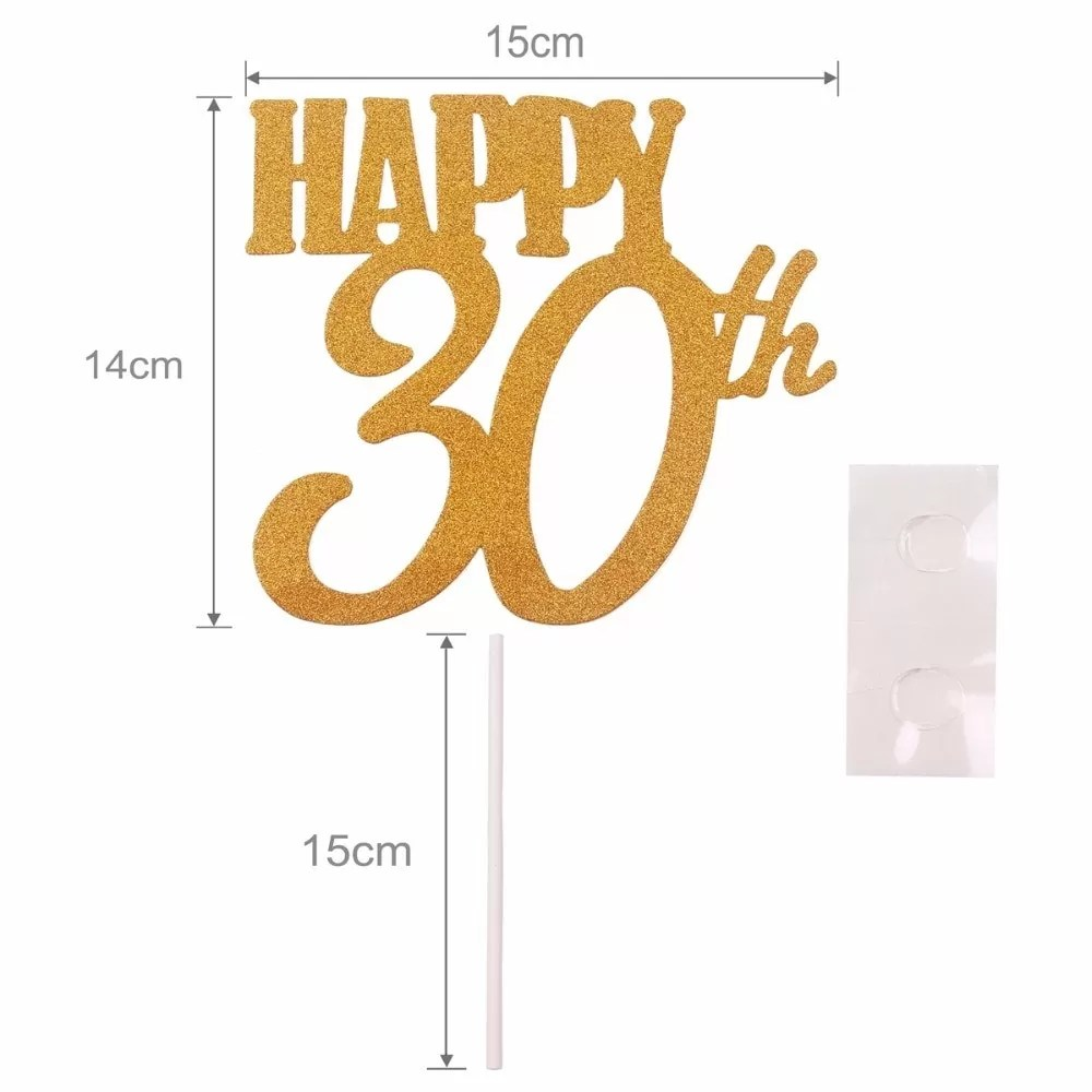 40*50 1pc Gold Happy 30th Birthday Cake Topper Happy 40 50 60 Paper Birthday
