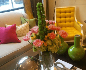 Interior Design with fresh florals and upholstered goods