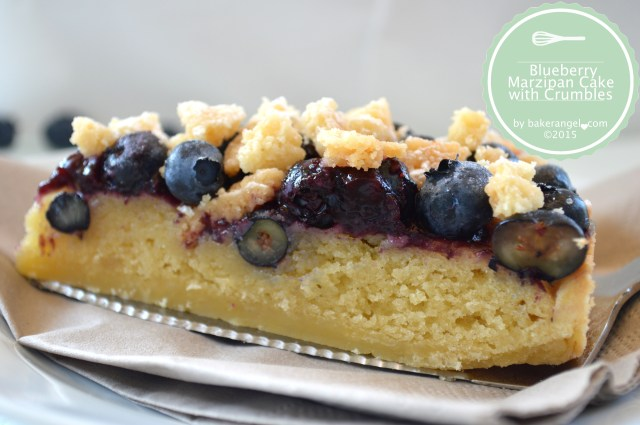 Blueberry Marzipan Crumble Cake by bakerangel.com