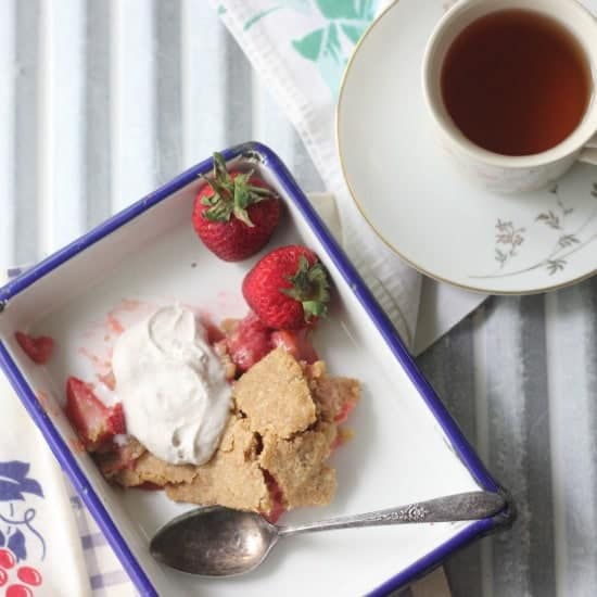 Paleo Strawberry Rhubarb Pie with Coconut Whipped Cream