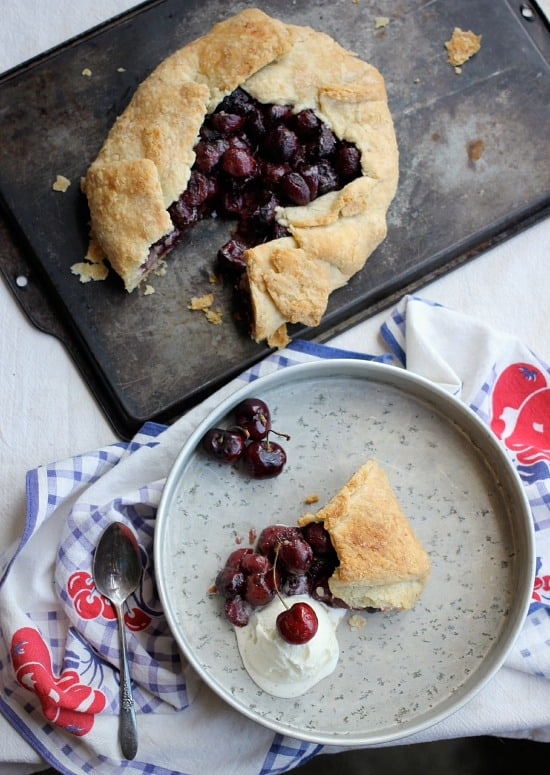 Free-Form Bourbon Soaked Cherry Pie- Baker Bettie