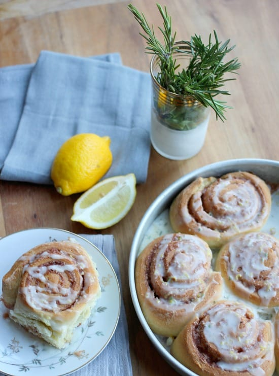 Rosemary Lemon Cinnamon Rolls- Baker Bettie