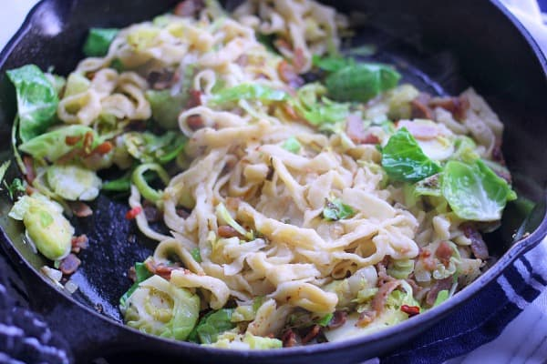 Pasta for Breakfast! Brussels Sprouts, Bacon, and Fried Egg Pasta- Baker Bettie