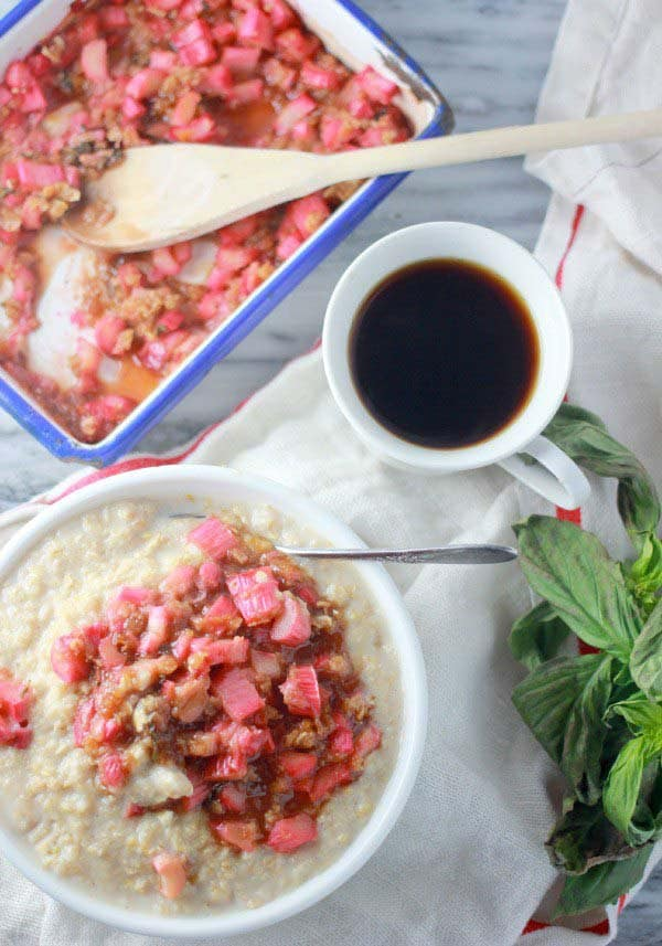 Rhubarb Oatmeal Recipe with Orange and Basil- Baker Bettie