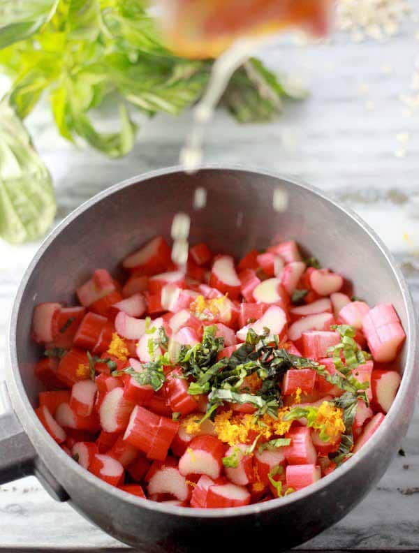 Rhubarb Oatmeal Recipe with Orange and Basil- Baker Bettie