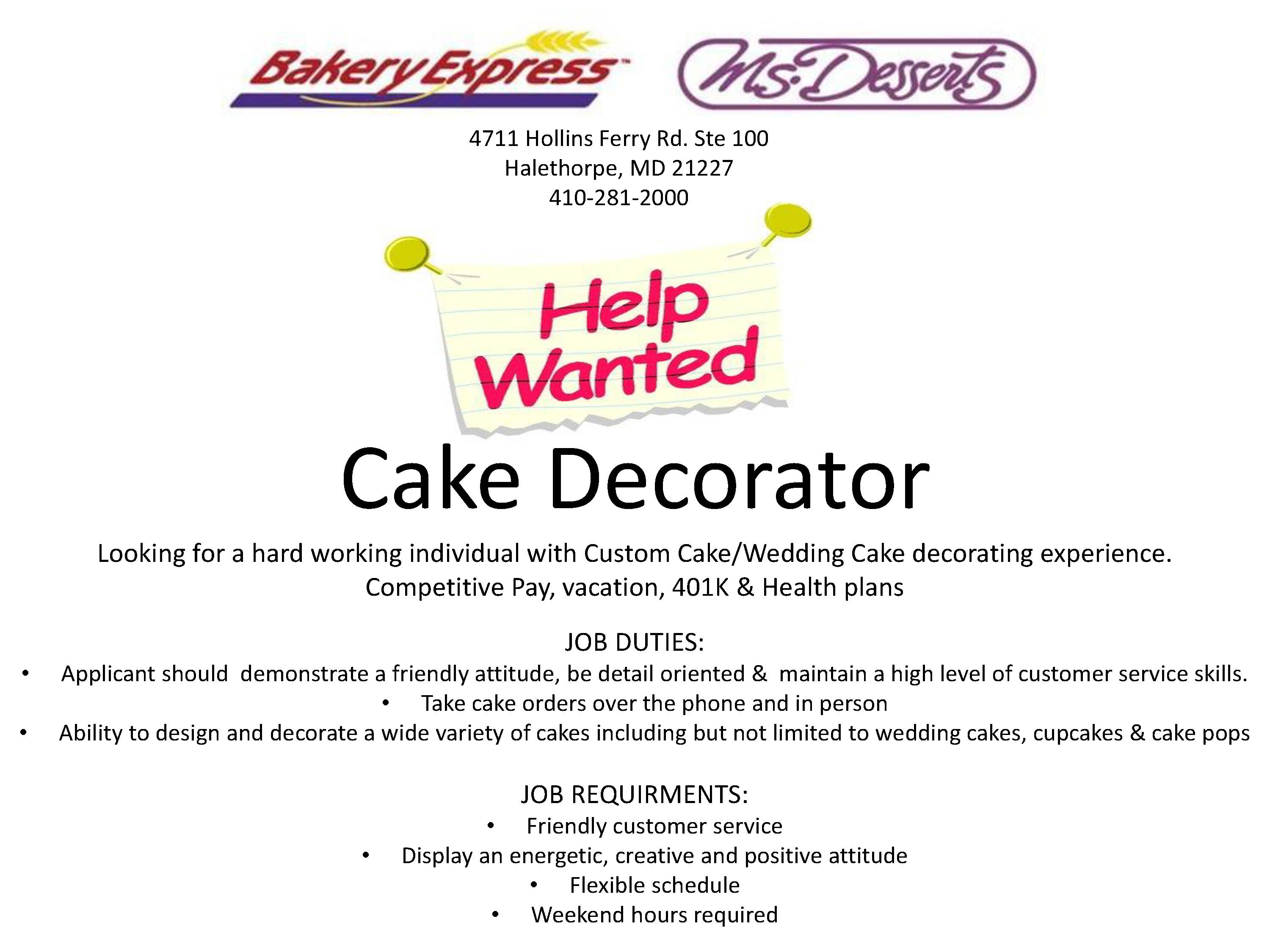 Cake Decorating Job Description Billingsblessingbagsorg