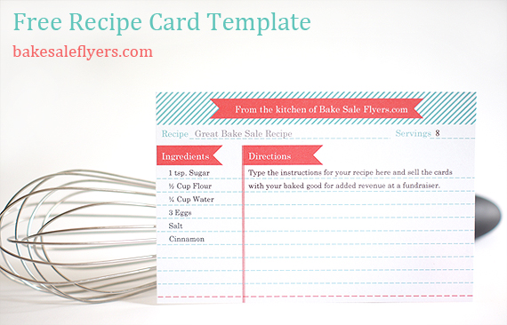 Recipe Card Template Bake Sale Flyers \u2013 Free Flyer Designs