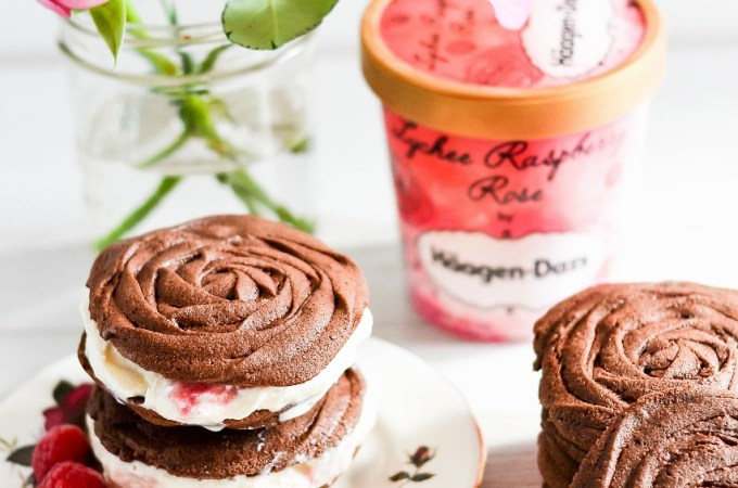 Rose Chocolate Spritz Ice Cream Sandwich