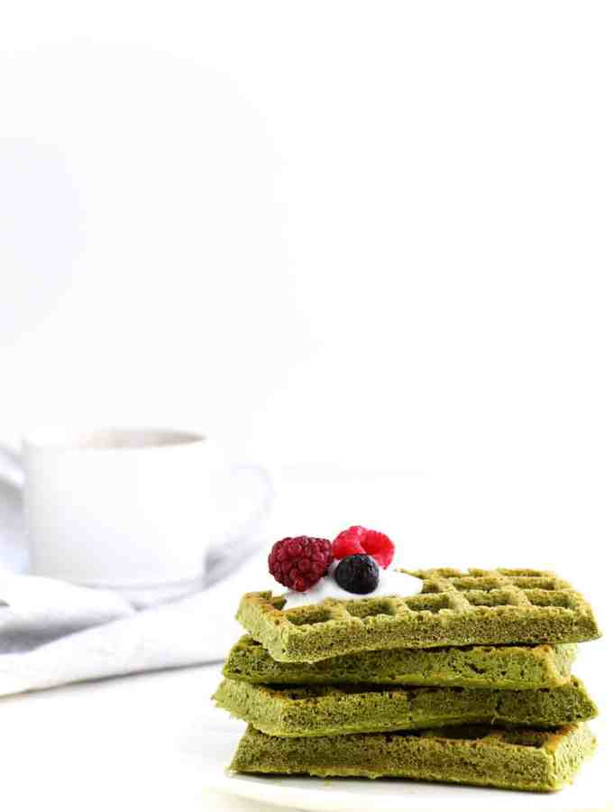 Matcha Gluten-Free Waffles - A easy to make breakfast option with the delicious and healthy flavours of matcha.