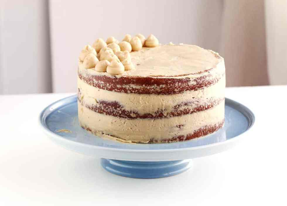 Moist Layered Coffee Cake - A soft 3 layered naked coffee cake with a ...