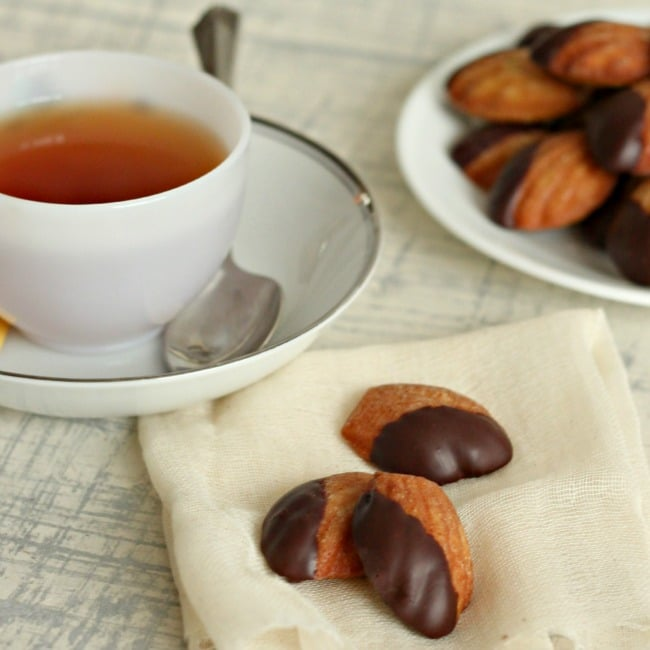 Chocolate Dipped Earl Grey Madeleines
