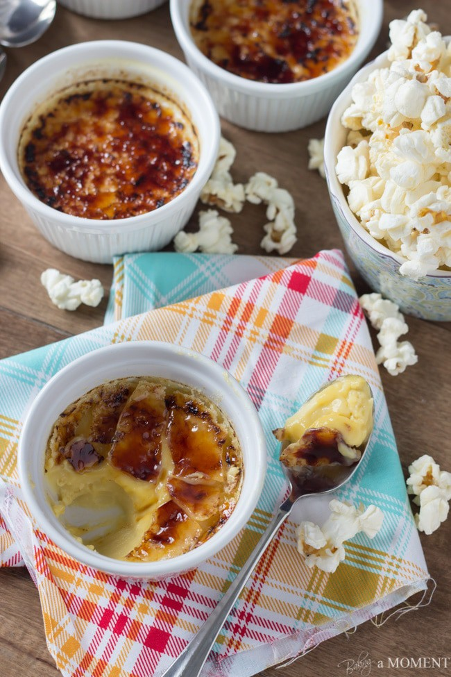 Buttered Popcorn Creme Brulee | Baking a Moment