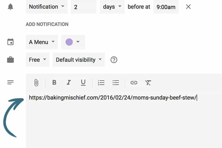 Meal Planing 101 How to Meal Plan Using Google Calendar - Baking