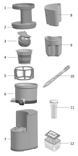 Componente storcator fructe legume / Slow Juicer - Balance Life