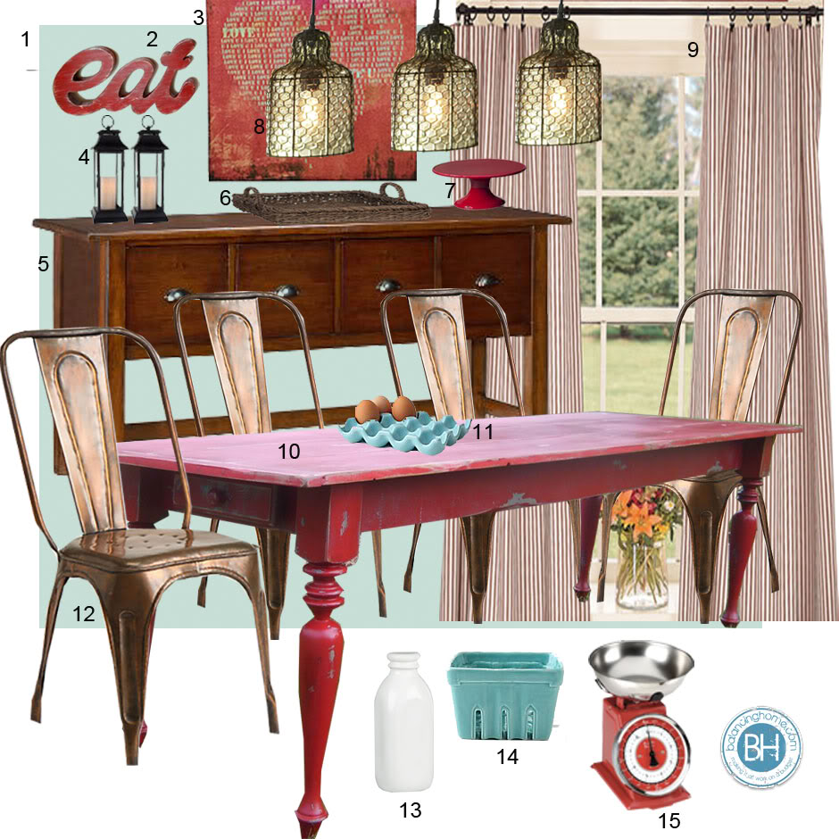 mood board turquoise and red diningroom red kitchen table Mood Board Turquoise and Red Dining Room Farmhouse Inspired