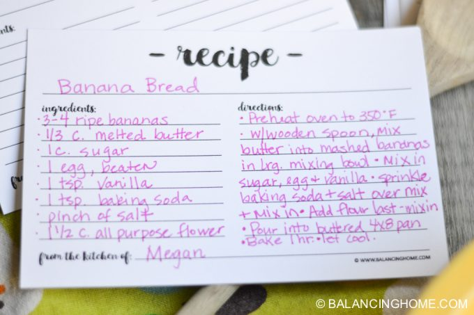Printable Recipe Card - Balancing Home With Megan Bray - recipe card