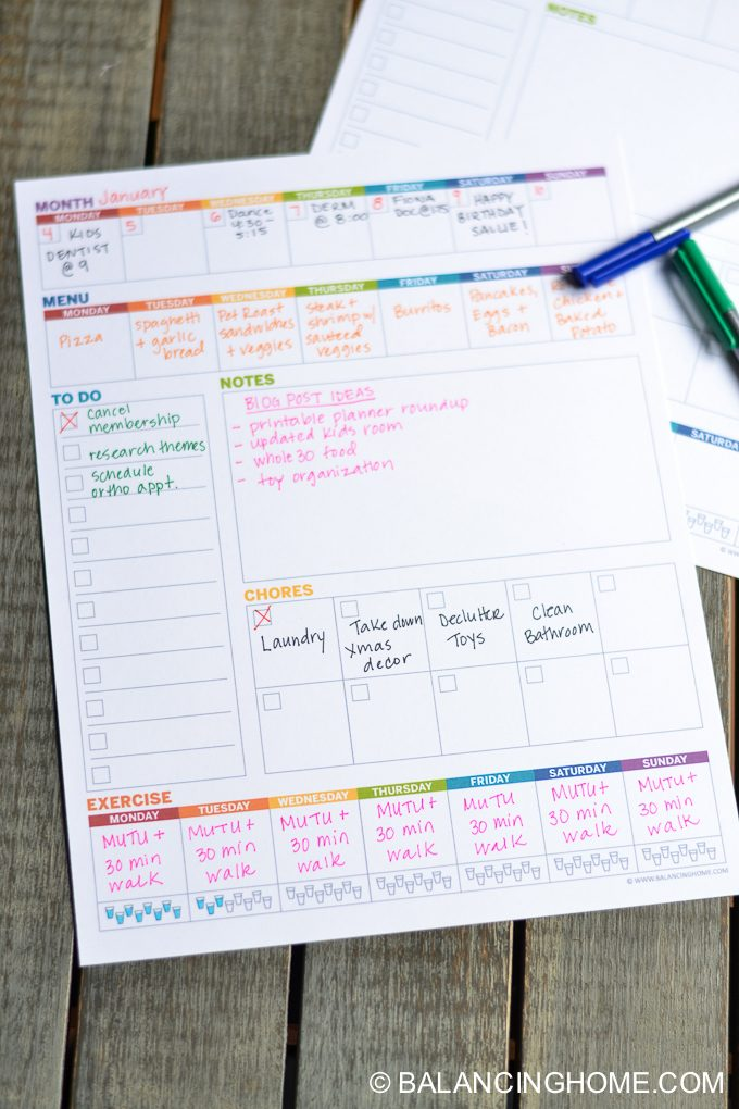 Printable Planner Weekly Template - Balancing Home
