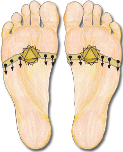 Reflexology solar plexus point or K1