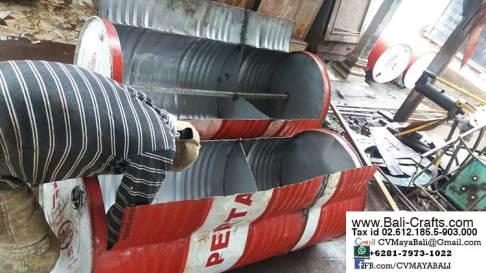 Recycled oil drum furniture workshop