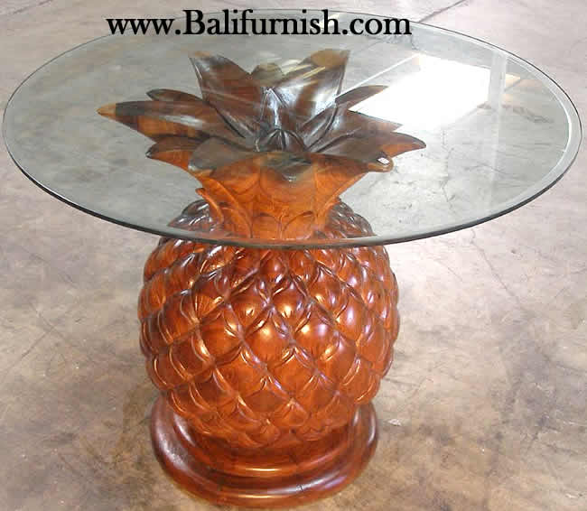 Outdoor Sofa Rattan Carved Wood Pineapple Glasstop Table
