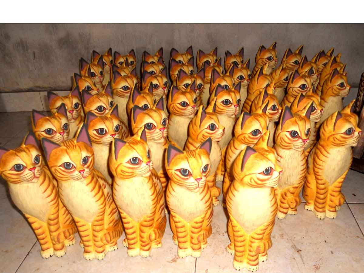 Wholesale Suppliers Indonesia Cat7 6 Wooden Cats Wholesale Bali Indonesia