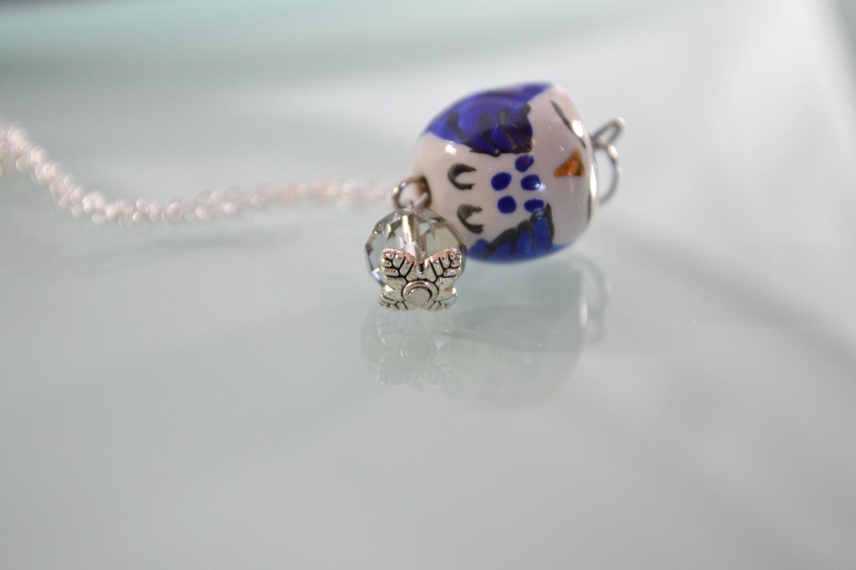 Adorable Blue Sleepy Owl Silver Necklace Bali Mantra