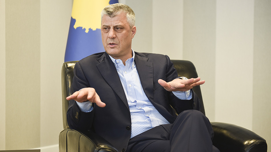 Kosovo's foreign minister and former premier Hashim Thaci speaks during an interview with AFP in Pristina on February 3, 2016.  Thaci told AFP he received a death threat purportedly from the leader of the Islamic State organisation over his opposition to the extremist group. / AFP PHOTO / ARMEND NIMANI