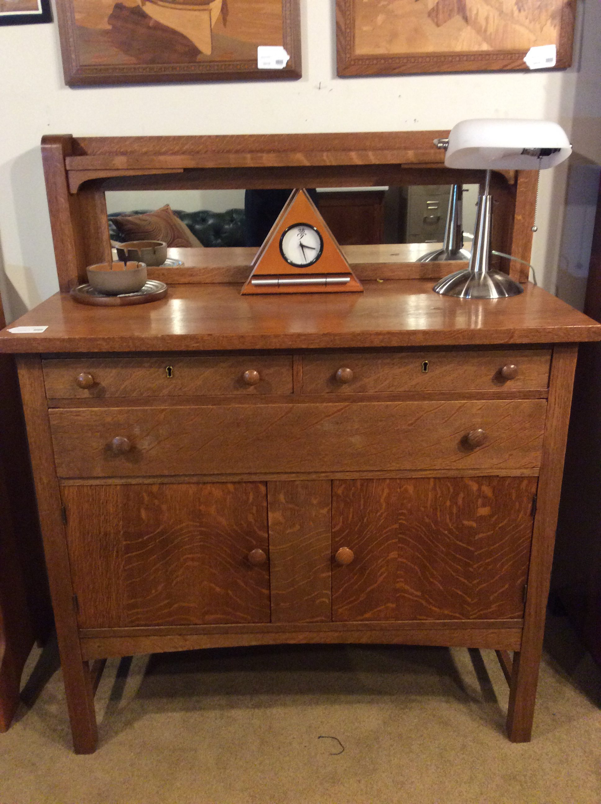 Vintage Oak Sideboard With Mirror Oak Sideboard Sold Ballard Consignment
