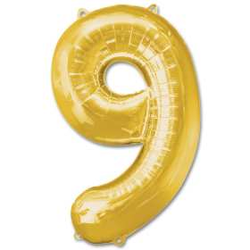 Number 9 Gold Jumbo Foil Balloon from Balloons Shop NYC