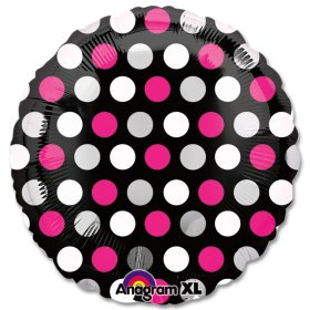 Pink and White Dots Mylar 18 Inch Party Balloon from Balloons Shop NYC